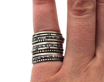 Build Your Own Stacking Ring Set, Sterling Silver Ring, Copper Stacking Ring, Oxidized Silver Ring, Bohemian Jewelry, Custom Rings
