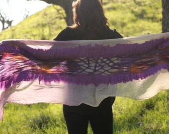 Nuno Felted Scarf Wrap Merino Wool Silk on Ombre Cotton Gauze in Purples & Vanilla Cream OOAK Gift for Her