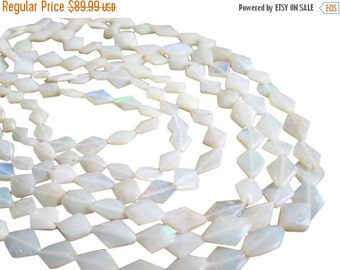 SALE White Opal Beads, Smooth Diamond Cut, 7mm x 9mm, SKU 2970A
