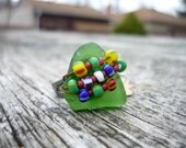 Green beach glass and striped beads ring * Lake Erie beach glass * beach glass jewelry