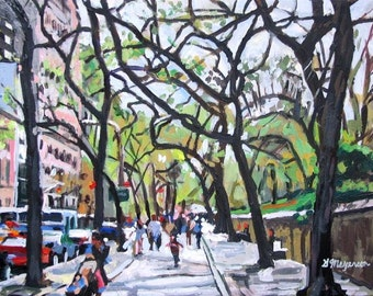 Tree Painting Fifth Avenue New York Art The Met NYC Art Central Park Print Trees On 5th Avenue Spring Cityscape Painting by Gwen Meyerson