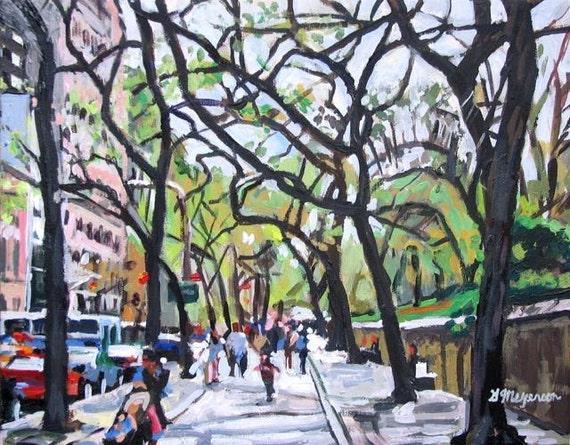 "Fifth Avenue New York Art Near The Met NYC Art Central Park Print 8x10, ""Trees On Fifth Avenue"" Spring Cityscape Painting by Gwen Meyerson"