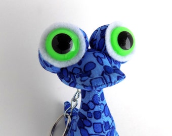 Cute Keychain, Alien Keychain, Blue Keychain, Monster Keychain, Zipper Pull, Backpack Buddy by Adopt an Alien named Newt