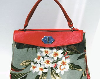 Red Genuine Leather and Barkcloth Purse With Bird of Paradise and Orchid and Twist Lock Closure