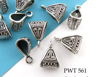 Pewter Charm Bail Large Decorative Pendant Bail Antiqued Silver 18mm (PWT 561) 8 pcs BlueEchoBeads