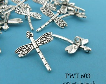 22mm Small Dragonfly Slider Bead Charm Pewter Antiqued Silve (PWT 603) 10 pcs BlueEchoBeads