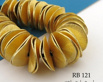 16mm Gold Tone Large Potato Chip Beads, Wavy Disk, Brushed Gold, Full Strand (RB 121) 52 pcs BlueEchoBeads