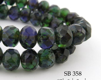 9mm Green Czech Glass Beads Faceted Rondelle, 9 x 6mm, Forest Glade (SB 358) 12 pcs BlueEchoBeads