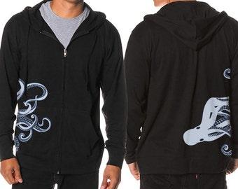 Octopus Hoodie, Kraken screen print, Octopus Steampunk Hoodie, Jersey Zip Hoodie, Gift