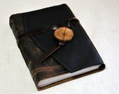 Medium Dark Brown Rustic Leather Journal with Recycled Paper