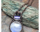 Genuine Rainbow Moonstone Pendant, Copper Wire Wrapped Necklace, Ready to Ship
