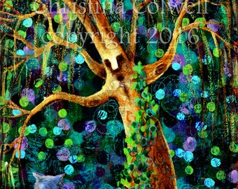Humphrey Ask the Old Tree, original whimsical modern expressionist painting on  canvas ,  modern contemporary, primitive raw folk art