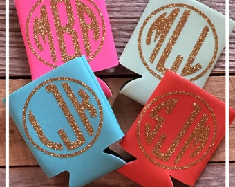 Can holder insulator huggie with glitter monogram can holder personalized