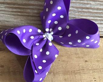 "6"" Purple Polka Dot Boutique Bow"