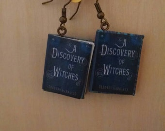 Mini A Discovery of Witches Book Earrings - Handmade Book Jewelry - Handmade Book Earrings - Mini Book Jewelry - Handmade Mini Book Earrings