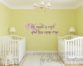 """We made a Wish and Two came True Dandelions Vinyl Wall Decal for twins  40"""""""