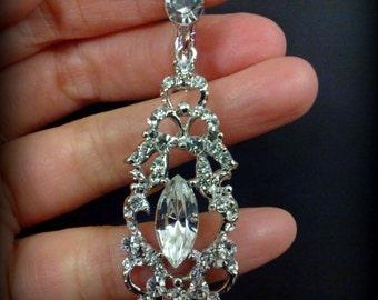 Clip On Bridal Earrings, Art Deco Wedding Earrings, Screw Back Earrings, Dangle Earrings, Victorian Wedding Jewelry, Gift for Her, VICTOR