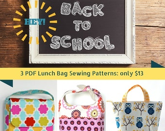 Back to School Lunch Bag Pattern Sale:  3 simple and fun patterns to sew!