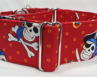 Deadman's Cove Skulls Greyhound, Whippet, Galgo, Pit Bull, Dog, Sighthound Martingale Collar