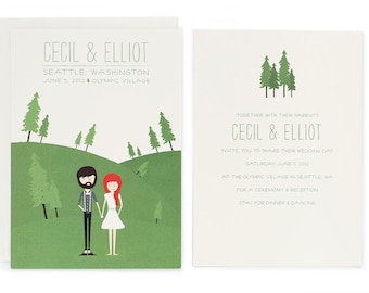 Rustic Wedding Invitation Illustration - Custom Illustrated Invite - Cecil & Elliot