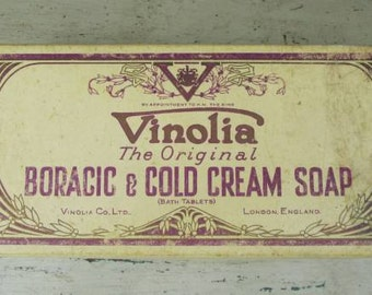 Little Box of Treasures - Vinolia Soap Box - Hankies, Pencil and Card -