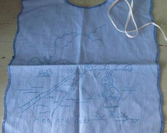 Rabbits Playing Hide & Seek - Babies Bib Ready To Be Embroidered  - Vintage New Old Stock
