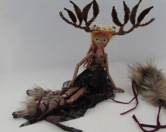 ARWEN, tall regal forest deer doll, handmade sculpture, ball jointed