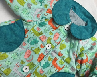 Reversible Teal Cats coat sizes 1-6 years