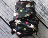One Size Stay Dry Overnight Fitted Cloth Diaper in Skittle Farts Rainbows by Soothe Baby