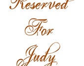 Reserved For Judy
