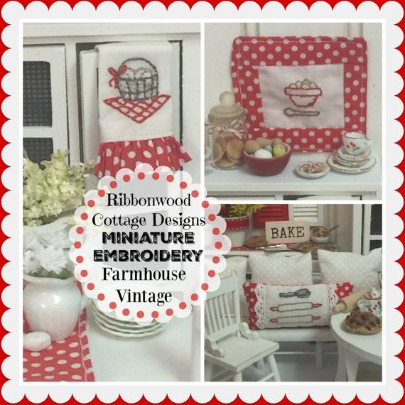 PDF Embroidery Designs Ribbonwood Cottage Miniature Embroidery-Farmhouse Vintage Kitchen