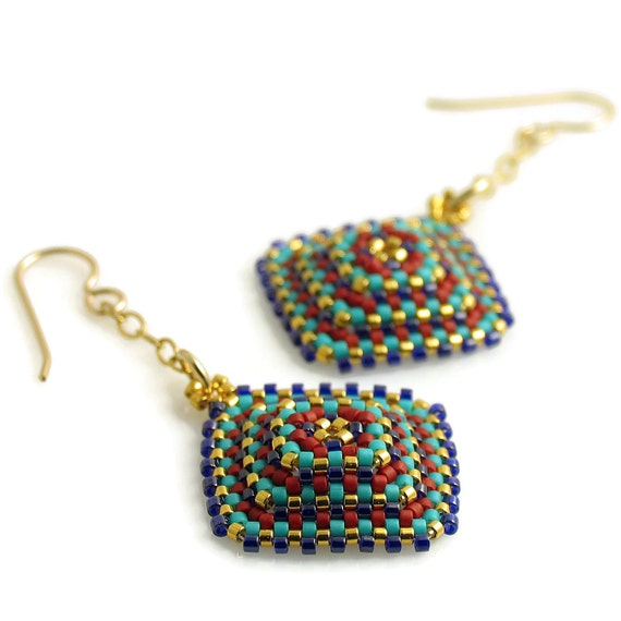 Custom Handcrafted Textured Square Delight & Joy Earrings - Ready to Ship