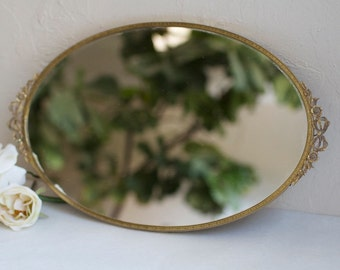 """10.5x17"""" Vintage gold oval vanity with bow and floral detail handles. Blank or hand painted menu, dessert, cocktails, instagram, gifts/cards"""