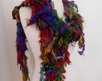 skinny scarf Raggy Distressed Earthy  Organic Recycled Sari Silk Scarf rich dark jewel shades