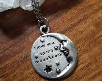 Love you to the moon and back Moon Pendant Necklace