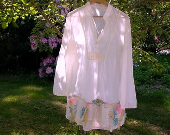 antoinette. xl lagenlook blouse romantic bohemian french market shabby eco chic artsy boho cotton upcycled tunic top magnolia pearl inspired