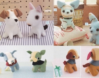 Plush Dog Pattern Combo Pack (5) Schnauzer, Chihuahua, Beagle, Bull Terrier. Jack Russell