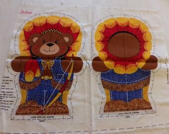 Vintage Cranston Print Works Cowboy And Indian Teddybear Fabric Panel