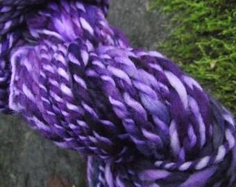 Handspun yarn, handpainted Organic Polwarth wool yarn OOAK bulky -Wild Violet
