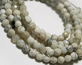 African Opal Gemstone Faceted Opal Round African White Opal Gemstone  Semi Precious Gemstone. 4mm Your Choice (mop) SALE -Was 8.00