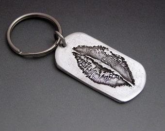 Kiss Silver Dog Tag Style Keychain  - Memorial, Handwriting, Signature, Lip Prints, Kiss, Child's Handwriting, Child's Drawing
