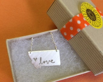 """sterling silver montana state """"love"""" necklace with hand-cut lettering"""