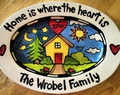 Personalized new house serving tray home sweet home  medium large or extra large