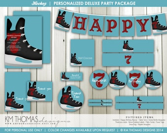 Hockey Printable Party Package : Boy's Hockey Theme Party - Personalized Birthday Decorations - Ice Skate - Blue - Item BD114