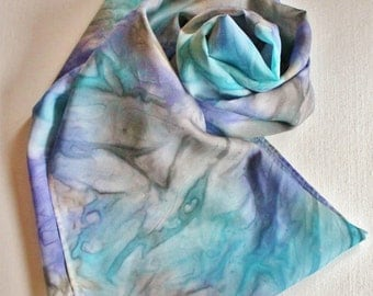 Silk Infinity Scarf - Hand Painted Circle Scarves Aqua Blue Turquoise Purple Lilac Lavender Gray Grey Silver Tan Pastel
