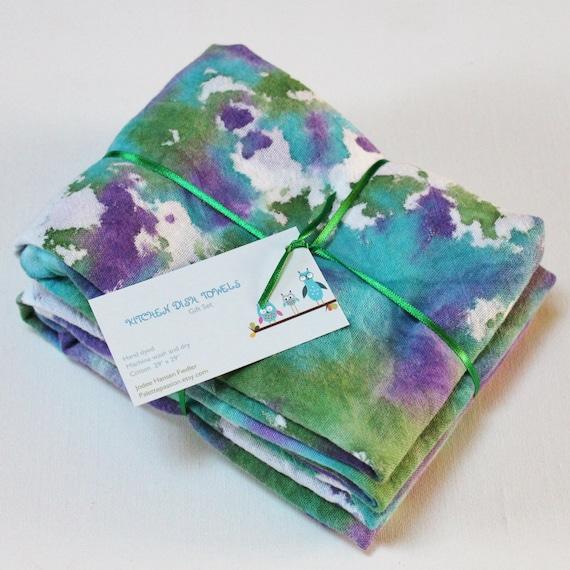 Turquoise Kitchen Towels: Hand Dyed Kitchen Towels Flour Sack Tea Towel Set Of 2 Tie