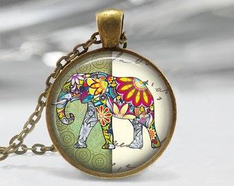Elephant Glass Pendant - Elephant Jewelry - Antique Bronze Necklace - Art Pendant - Elephant  Necklace -Elephant  Charm