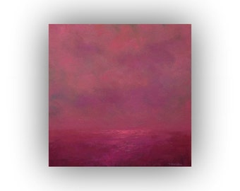 Small Abstract Landscape- Purple and Pink Clouds Sky and Field Oil Painting- 12 x 12 Original Palette Knife Art on Canvas