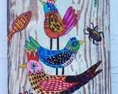 Small Folk Art Bird Painting on Wood