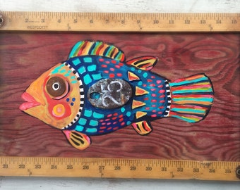 Folk Art Framed Fish Painting on Reclaimed Wood